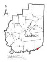 Map showing Hawthorn in Clarion County