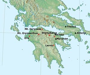 Labours of Hercules - Heracles's first six labours were located in the Peloponnese.