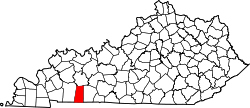 map of Kentucky highlighting Todd County