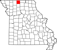 Map of Missouri highlighting Mercer County