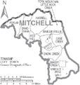 Map of Mitchell County North Carolina With Municipal and Township Labels.PNG