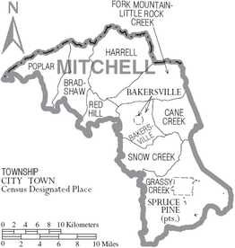 Kaart van Mitchell County