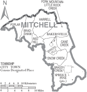 Mitchell County, North Carolina - Map of Mitchell County, North Carolina With Municipal and Township Labels