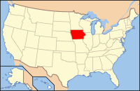 Map of the USA highlighting Iowa