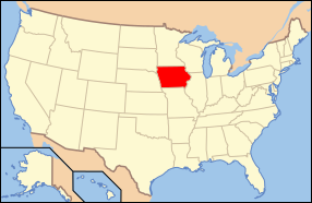 Map of USA with Iowa highlighted