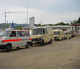 Convoy - 3. Einsatzeinheit of German Red Cross Freiburg Land prepares for a march under special convoy rights