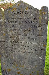 Photo of upright gravestone