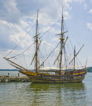 "Cecil Calvert, 2nd Baron Baltimore - Modern reconstruction of ""Dove"", one of the two ships that carried settlers to plant Lord Baltimore's first settlement in Maryland in 1634."