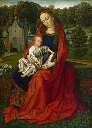 Master of the Embroidered Foliage - Image: Master of the Embroidered Foliage Virgin and Child in a Landscape PMA 2518