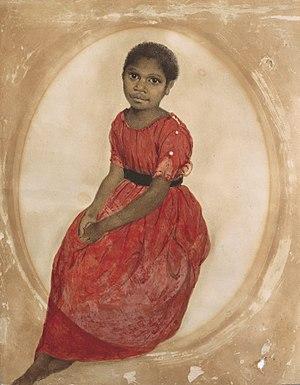 Thomas Bock - 1842 watercolour of Mathinna, a Tasmanian Indigenous Australian girl