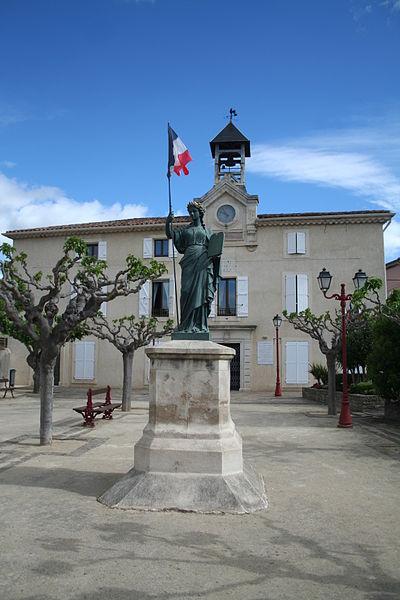 Maureilhan (Hérault) - mairie et statue de Marianne
