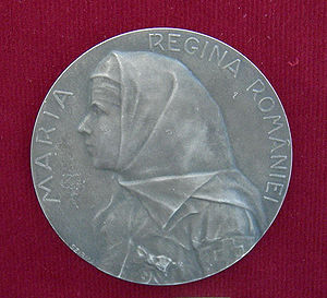 Romanian Red Cross - Queen Marie of Romania, on a medal in Red Cross attire