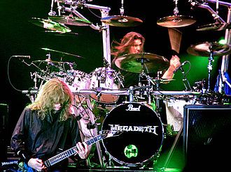 Shawn Drover - Dave Mustaine (left) and Shawn Drover live with Megadeth on June 15, 2005 in Bucharest