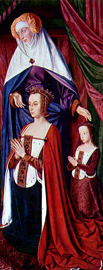 Peter II, Duke of Bourbon - Anne of Beaujeu and her daughter Suzanne, the future Duchess of Bourbon, presented by St. Anne