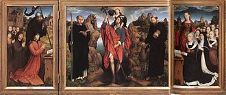 Moreel Triptych - Hans Memling, Moreel Triptych, 1484. Oil-on-wood, 291cm x 121.1cm