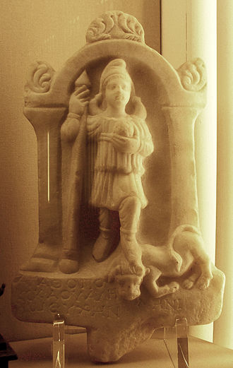 "Men (deity) - Roman relief of ""Phrygian"" Mēn, depicted with a Phrygian cap (2nd century, British Museum)"