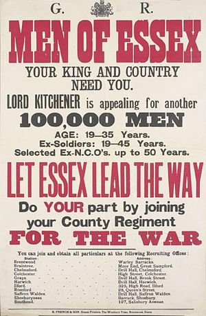 Essex Regiment - Poster calling on the men of Essex to volunteer for Kitchener's Army