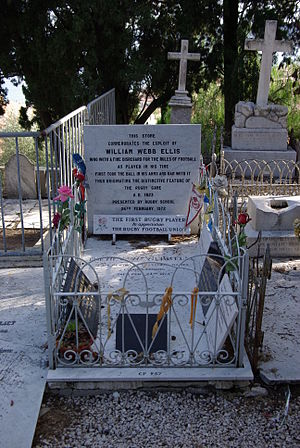 "William Webb Ellis - His grave in ""le cimetière du vieux château"" at Menton in Alpes Maritimes"