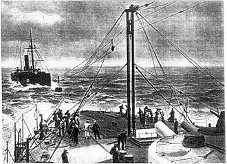 Underway replenishment - Trials of the Metcalfe system in 1902 between the battleship HMS Trafalgar and collier.