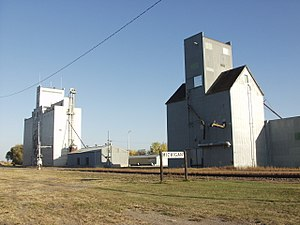 Michigan City, North Dakota - The railroad and grain elevators in Michigan City