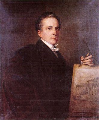 Mihály Pollack - Portrait of Mihály Pollack from ca.1850, oil on canvas by Mór Than