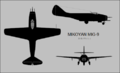 Mikoyan-Gurevich MiG-9 three-view silhouette.png