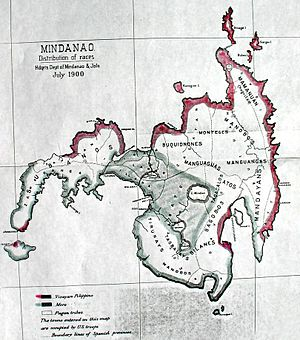 Visayans -  A Map of Mindanao c. 1900, made by the US Army in the Philippines, showing the different tribes of Mindanao, and their respective Ancestral Domains and traditional homeland. Most of the northern and eastern, as well as some southern coastal regions have been traditional homeland of Visayans; Islamized tribes dominate the western and some southern coasts; and the Lumads have been dwelling in the inland and highlands.
