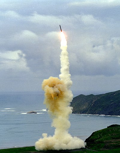 A Minuteman III ICBM test launch from Vandenberg Air Force Base, United States. Minuteman3launch.jpg