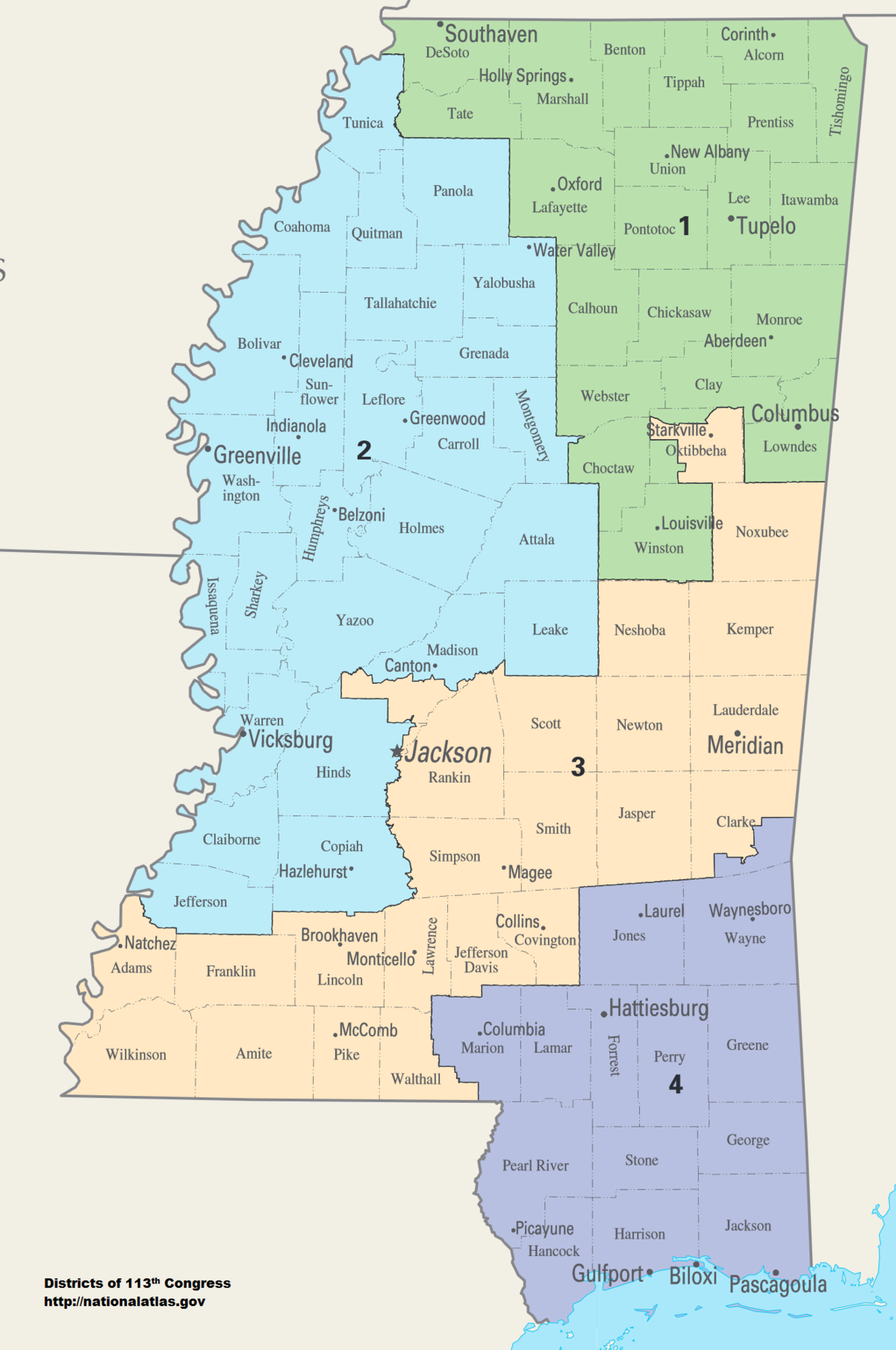 Mississippi House District Map Mississippi's congressional districts   Wikipedia