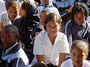 Mitchells Plain - School children at Mitchells Plain school. They draw learners from Khayelitsha and Philippi as well.