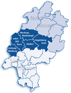 Map of Hesse highlighting the  Regierungsbezirk of Giessen