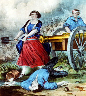 Freehold Township, New Jersey - Molly Pitcher fighting at the Battle of Monmouth in Freehold, New Jersey