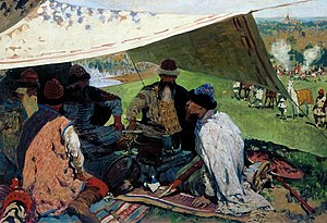 Council of Uvetichi - Russian princes make peace in Uvetichi. Painting by Sergey Ivanov