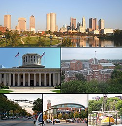 Images, from top left to right: Downtown Columbus, Ohio Statehouse Capitol Square, University Hall, Short North, Nationwide Arena, Santa Maria replica