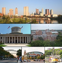 Fan boppe lofts nei rjochts: Downtown Kolumbus, Ohio Statehouse Capitol Square, University Hall, Short North, Nationwide Arena, Santa Maria replika
