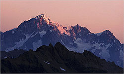 Mont Blanc, the highest mountain in Italy and Western Europe.