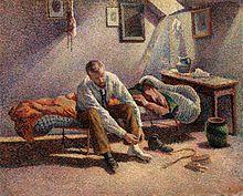 Mañana, Interior . La pintura representa a un amigo cercano y un colega Neo-impresionista Gustave Perrot .