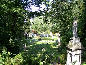 Mount Hope Cemetery (Rochester) - View of grave markers in Section L