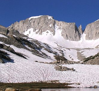 Mount Abbot - Mount Abbot, showing the north couloir. Petit Griffon is the gendarme on the right.