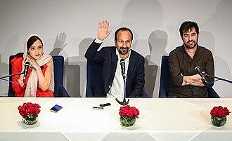 The Salesman (2016 film) - Farhadi, centre, with his stars Taraneh Alidoosti and Shahab Hosseini.