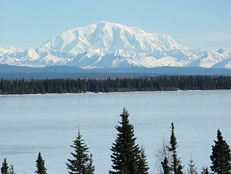 Mount Blackburn - Mount Blackburn from the west, looking across Willow Lake
