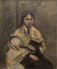 Jeune Femme assise, un livre à la main
