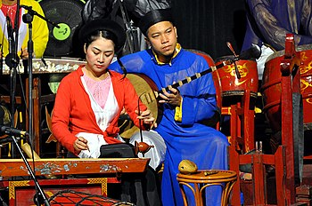 English: Musicians from the Hanoi water puppet...