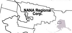 NANA Regional Corporation - Map showing NANA's region, with an inset showing the region in relation to Alaska as a whole.  Adjacent regions are those of Arctic Slope Regional Corporation (to the north), Bering Straits Native Corporation (to the south) and Doyon, Limited (to the east).