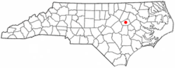 Location of Wilson in Wilson County, North Carolina