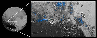 Pluto - Regions where water ice has been detected (blue regions)