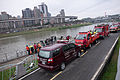 NTFD Fire Engines Parks at Nanhu Riverside Park North Road 20150204.jpg
