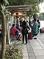 NTU Sports Center bus shelter and cosplayers 20191215.jpg