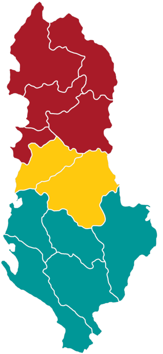 Central Albania - Central Albania is in yellow.