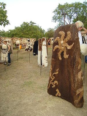 Burka (Caucasus) - Georgian burka (nabadi) and papakhi displayed at a folk festival in 2008